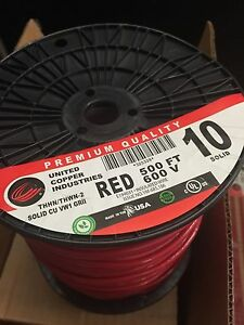 Copper Industries 500ft 600v Thhn thwn 2 Solid 10 Wire Model 325328 Red
