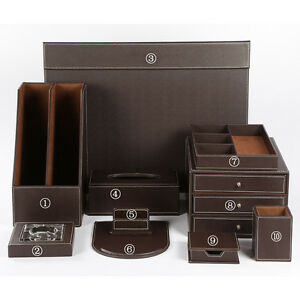 Wholesale 10 Pcs set Office Leather Wooden Desk Files Organizer Storage Box Sets