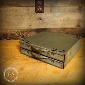Vintage Industrial Equipto 2 Drawer Steel Parts Cabinet Tool Box Jewelry Box
