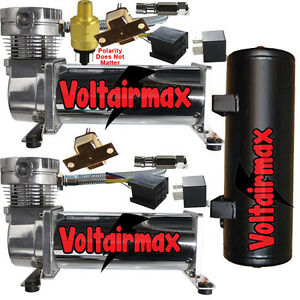 Voltairmaxx 480chrome Dual 200psi Compressor Air Suspension W accessory Tank b