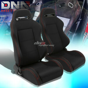 Pair Black Type r Full Reclinable Cloth Racing Seat Red Stitch mounting Silders