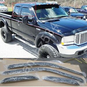 For99 16 Ford F250 350 450 Super Duty Super Cab Sun Rain Guard Vent Window Visor