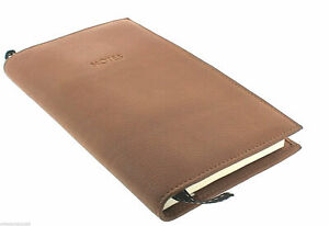 Rare Links London Travel Brown Leather Notes Notepad Pen Case