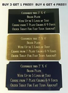 Custom Engraved Plate BRASS 2quot;x4quot; Name Plate Plaque Art Label Tag Gift Trophy $5.98