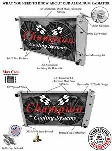 4 Row Champion Ca Aluminum Radiator For 68 85 Gm 28 Core And 2 14 Fans