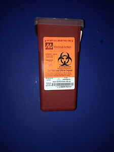 Sharps needle Biohazard Disposal Container 1 Quart Med Act Indus Inc 8702