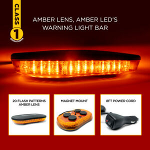 class 1 Magnet Mount Amber Led Warning Light Bar With 20 Flash Patterns