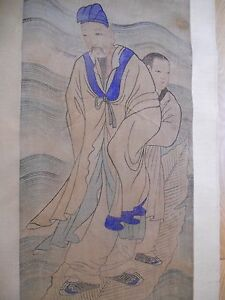 Fine Korean Joseon Dynasty Father Son Scroll Natural Color On Hemp Cloth
