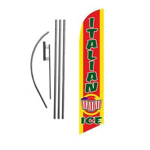 Italian Ice 15 Feather Banner Swooper Flag Kit With Pole spike shaved Ice