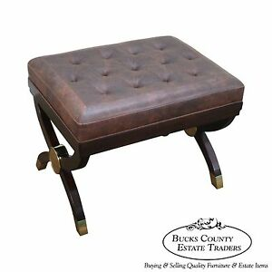 Quality Regency Directoire Style Tufted Leather Bench