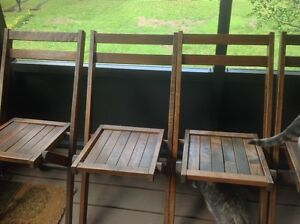 Vintage Simmons Co Brown Wood Folding Chairs 5