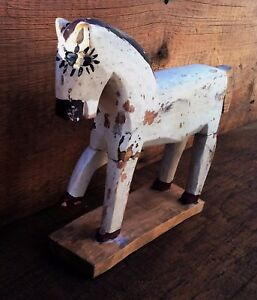 Antique Primitive Horse Folk Art Decor Western Americana Wood Carved Toy Pony
