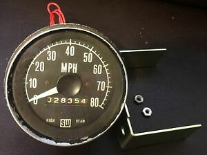 Vintage Stewart Warner 0 80 High Beam Mechanical Speedo Speedometer 825747 Gauge