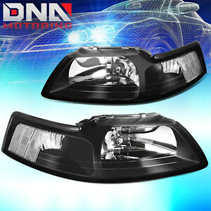 For Ford Mustang 1999 2004 Gt Cobra Euro Black Housing Clear Corner Headlights