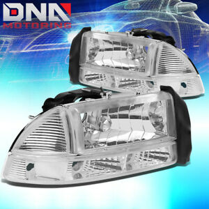 For Dodge 97 04 Dakota 98 03 Durango Euro Chrome Housing Clear signal Headlights