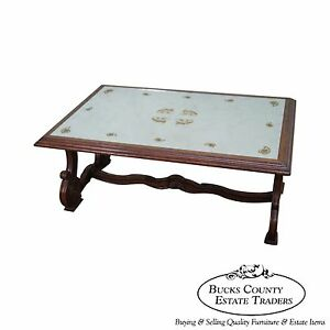 Quality Eglomise Mirrored Top Walnut Coffee Table