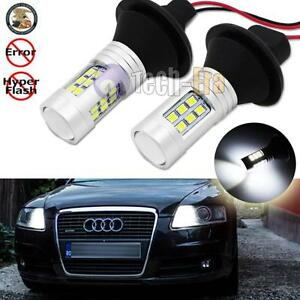 2x Error Free White 1156 7506 Led Bulbs W Resistors For Audi Daytime Drl Lights