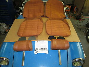 New Seat Covers Upholstery Mgb 1973 80 Headrests Autumn Leaf 1 2 Cloth Made Uk