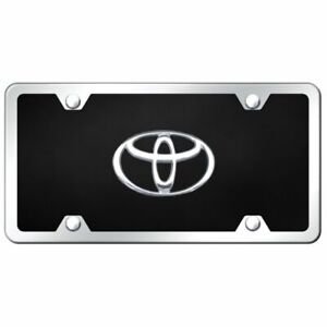 Toyota Logo Chrome Black Acrylic Front License Plate Frame Trd Novelty