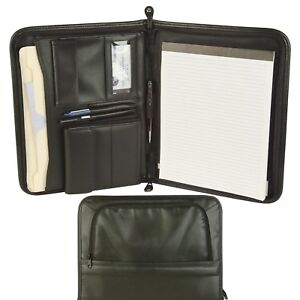 Zippered Padfolio W Cd Holder Notepad File Divider