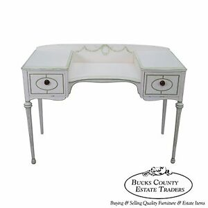 Hand Painted French Louis Xvi Style Dressing Table Vanity