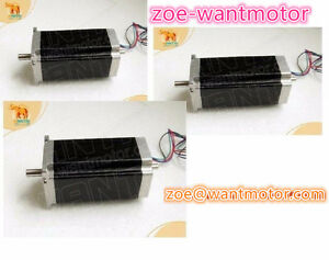 3pcs Wantai Nema23 Stepping Motor Dual Shaft 4 2a 112mm 4leads Cnc Kit