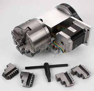 4th Axis Hollow Shaft Cnc Router Rotational A Axis 100mm 4 Jaw Chuck Engraving