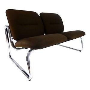 Mid Century Modern Steelcase Brown Fabric Chrome Loveseat Sofa Bench