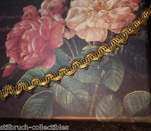 Antique Vintage Heavy Gold Metal Lace Trim Narrow Gimp Ribbon Work Or Doll 3 8