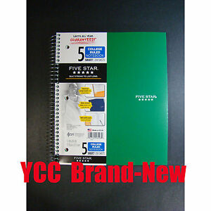 Mead Five Star Spiral Notebook 5sub 200s college Ruled 11 X 8 5in green Cover