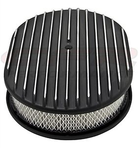 Aluminum 12 Oval Air Cleaner Paper Filter Polished Finned Black