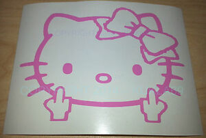 Hello Kitty Head Face Bow Middle Finger Vinyl Decal Sticker Car Bumper Window3x4