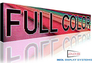Full Color Led Sign Program Digital Scroll Board 12 x76 Open Close Sign
