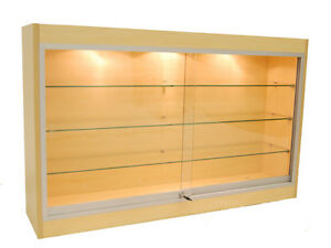 Economy Wall Mount Glass Display Case Showcase Maple 48 New York Pickup Only