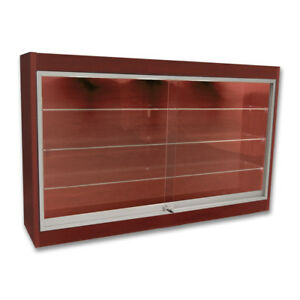 Economy Wall Mount Glass Display Case Showcase Cherry 48 L New York Pickup