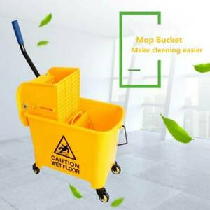 5 Gallon Mop Bucket W wringer Combo 20l Commercial Rolling Cleaning Cart Yellow