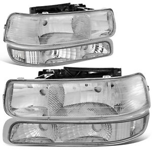 For 1999 2002 Chevy Silverado Chrome Housing Clear Corner Headlight Bumper Lamps
