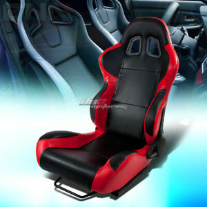 Full Reclinable Red black Trim Woven Cloth Bucket Racing Seat slider Driver left