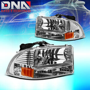 For 97 04 Dodge Dakota Durango Chrome Amber Side Turn Corner Headlamp Head Light