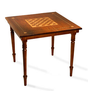 Folk Art Federal Antique Furniture Game Table Walnut Maple Chess Card Table