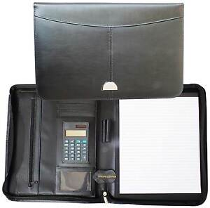 A4 Conference Folder Zipped Genuine Leather Portfolio Organiser With Calculator
