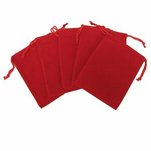 200 Red Drawstring Gift Velvet Square Wedding Pouches Favour Jewelry Bag 2 x3