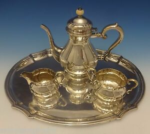 C C Hermann Danish Sterling Silver Tea Set 3pc With Tray 0442