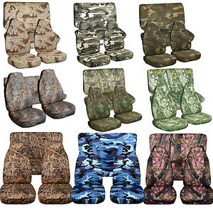 1976 2017 Jeep Wrangler Camouflage Seat Covers Canvas Front Rear Choose Color