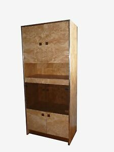 Mid Century Modern Founders By Thomasville Burl Wood Curio Cabinet Wall Unit