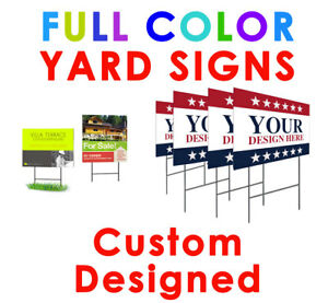 8 Custom Printed Yard Signs Full Color 24pt 2 Sided Personalized Polyboard stand