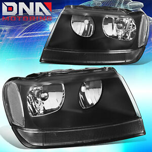 For 1999 2004 Jeep Grand Cherokee Wj Laredo Limited Black Clear Headlights 4x4
