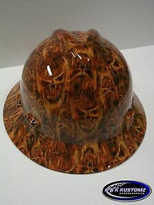 inferno Pattern New Custom Msa V Gard Fas trac Rachet Full Brim Hard Hat