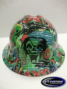 New Custom Msa V gard full Brim Hard Hat W fas trac Ratchet Graffiti Pattern