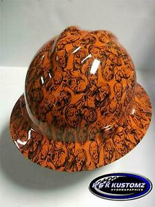 New Custom Msa V Gard Full Brim Hard Hat Orange Zombie Pattern
